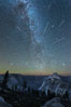 Perseid Meteor Shower and Milky Way, Andromeda Galaxy and the Pleides Cluster, over Half Dome and Yosemite National Park. Glacier Point, California, USA. Image #28746