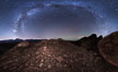 The Milky Way at Night over Sky Rock, panorama, spherical projection.  Sky Rock petroglyphs near Bishop, California. Hidden atop an enormous boulder in the Volcanic Tablelands lies Sky Rock, a set of petroglyphs that face the sky. These superb examples of native American petroglyph artwork are thought to be Paiute in origin, but little is known about them. USA. Image #28799