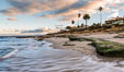 Hospital Point, La Jolla, dawn, sunrise light and approaching storm clouds. California, USA. Image #28856