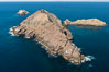 Middle Coronado Island, Mexico, looking north with San Diego and Point Loma in the distance, aerial photograph. Coronado Islands (Islas Coronado), Baja California
