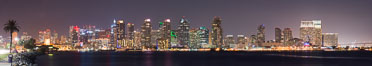 San Diego downtown city skyline at night, viewed from Harbor Island. Image #29351