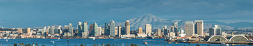 San Diego Bay and Skyline, viewed from Point Loma, panoramic photograph. California, USA. Image #30203