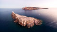 Los Islotes and Isla Partida, the northern part of Archipelago Espiritu Santo, Sea of Cortez, Aerial Photo. Islotes is famous for its friendly colony of California sea lions. Baja California, Mexico. Image #32402