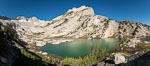 North Peak (12,242') over Conness Lake, water colored by glacier runoff, Hoover Wilderness. Conness Lakes Basin, California, USA. Image #36425