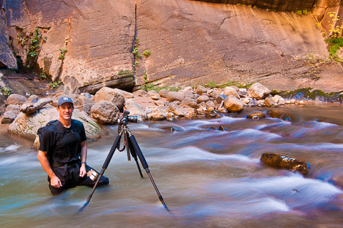 Photographing fall colors in the Zion River Narrows, Utah, photo by Garry McCarthy / McCarthyPhotos.com