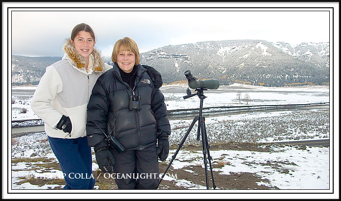 We meet Laurie Lyman on a cold but beautiful morning in the Lamar Valley, Yellowstone.  Wolves are in the distant background.