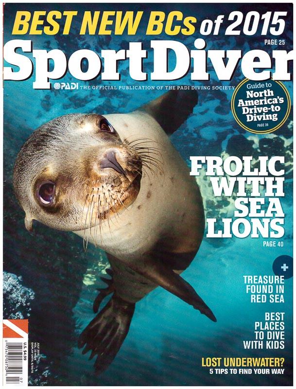 Sport Diver cover photo, June 2015, Sea Lion in the Sea of Cortez
