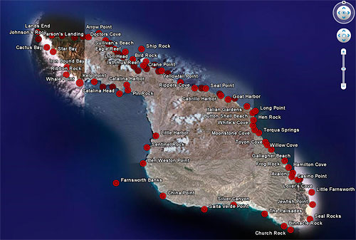 Map of catalina island dive sites and locations natural for Long beach fishing spots