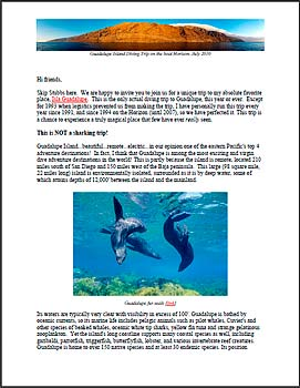Guadalupe Island Dive Trip Information PDF