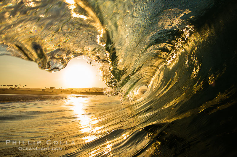 Newport Beach surf photo, morning tube, sunrise, glisteny wave
