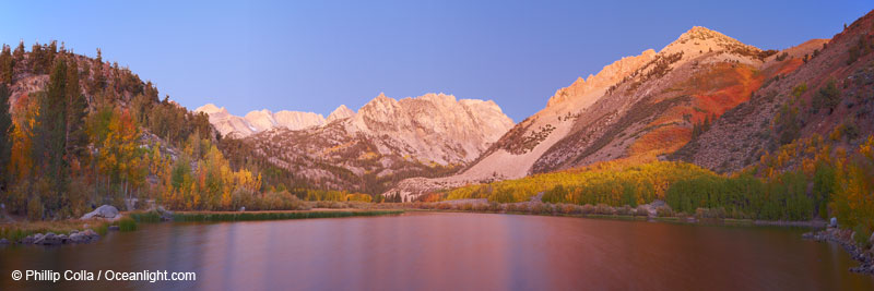 North Lake sunrise alpenglow, three frame panorama