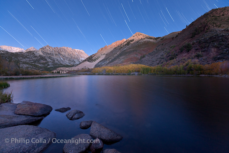 North Lake Star Trails and Pre-sunrise Alpenglow, Bishop Creek Canyon