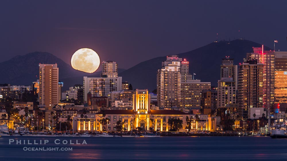 Full Moon Rising over San Diego City Skyline at Night