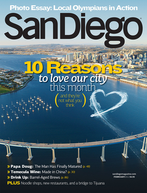 San Diego Magazine Cover Photo by Phillip Colla, San Diego Coronado Bay Bridge aerial photo