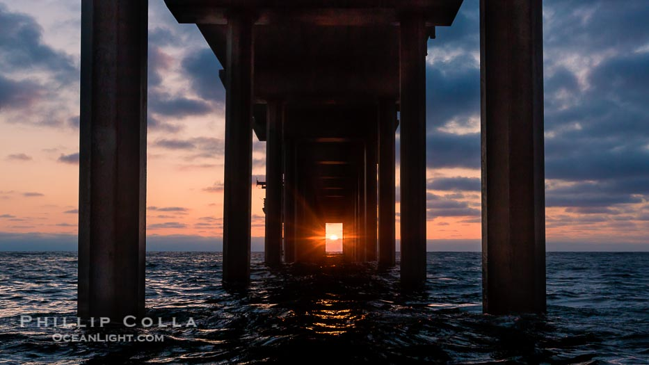 Surfer's View of Scripps Pier Perfect Sunset, Solar Alignment, La Jolla
