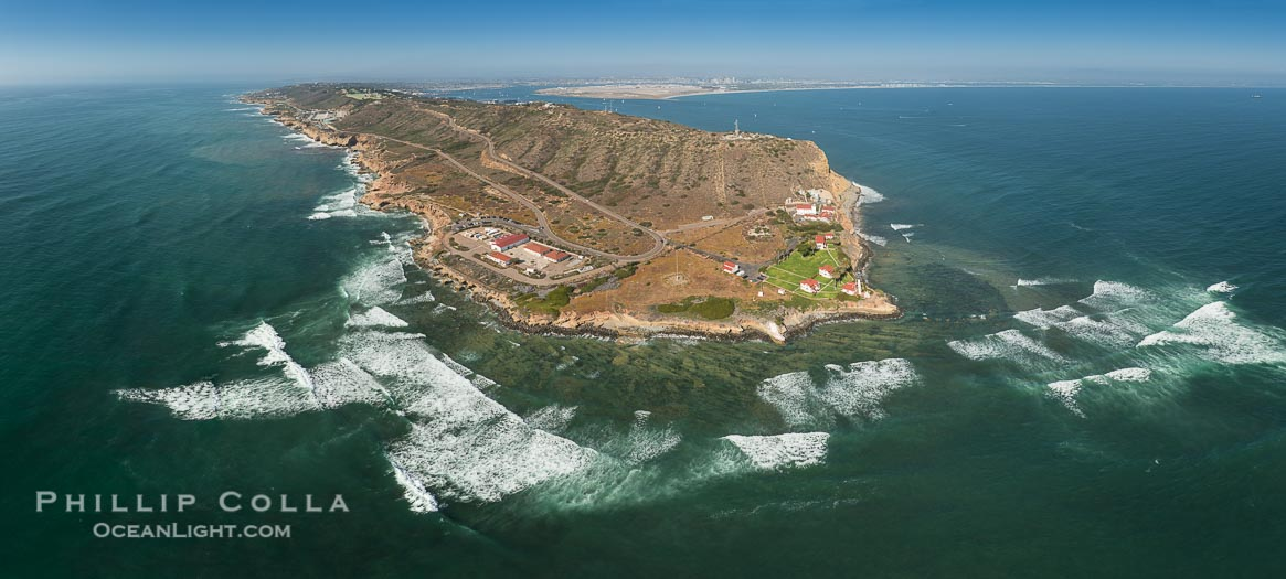 Aerial Panorama of Point Loma, Cabrillo Monument and San Diego Bay