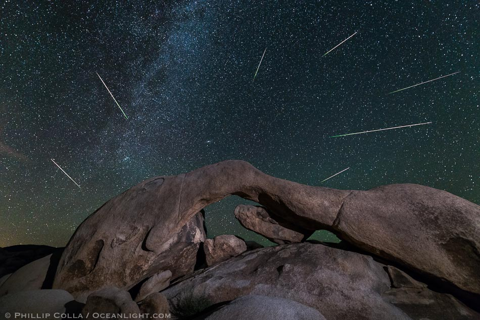 Perseid Meteor Shower over Arch Rock, Joshua Tree National Park, 2015