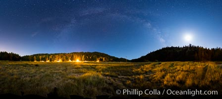 Moon and Milky Way over Palomar Mountain State Park