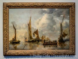 The Home Fleet Saluting the State Barge, Jan van de Cappelle, 1650, oil on panel, h 64cm x w 92.5cm, Rijksmuseum, Amsterdam, Holland, Netherlands