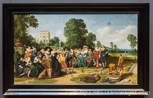 The Fete champetre, Dirck Hals, 1627, oil on panel, h 77.6cm x w 135.7cm, Rijksmuseum, Amsterdam, Holland, Netherlands