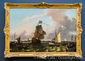 The Man-of-War Brielle on the River Maas off Rotterdam, Ludolf Bakhuysen, 1689. Oil on canvas, h 130cm x w 197cm x d 12.5cm. Rijksmuseum, Amsterdam, Holland, Netherlands, natural history stock photograph, photo id 29478