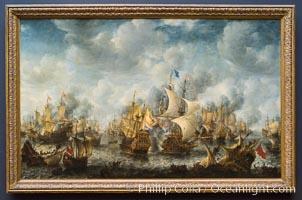 The Battle of Terheide, Jan Abrahamsz. Beerstraten, 1653 - 1666. Oil on canvas, h 176cm � w 281.5cm, Rijksmuseum, Amsterdam, Holland, Netherlands