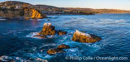 Seal Rocks at Sunset, Panoramic Aerial Photo, Laguna Beach, California