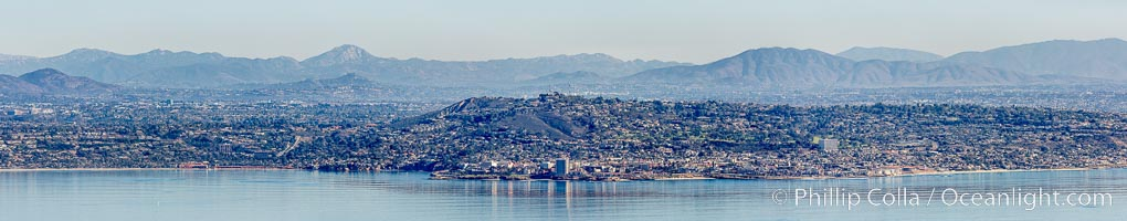 Aerial Panoramic Photograph of La Jolla, Mount Soledad, University City, natural history stock photograph, photo id 29097