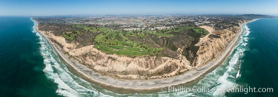 Aerial panorama of Blacks Beach, Torrey Pines Golf Course (south course), and views to La Jolla (south) and Carlsbad (north). La Jolla, California, USA, natural history stock photograph, photo id 30851