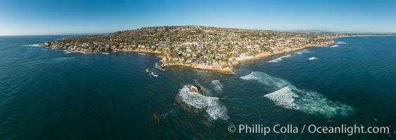 Aerial Panoramic Photo of Bird Rock and La Jolla Coast. La Jolla, California, USA, natural history stock photograph, photo id 30787
