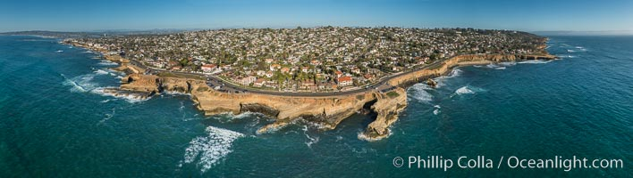 Aerial Panoramic Photo of Sunset Cliffs San Diego, Pappy's Point, Claiborne Cove