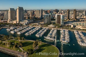 Aerial Phot of Marriott Hotel towers, rising above the Embarcadero Marine Park and yacht marina