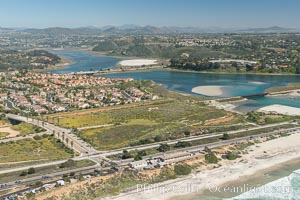 Aerial photo of Batiquitos Lagoon, Carlsbad. The Batiquitos Lagoon is a coastal wetland in southern Carlsbad, California. Part of the lagoon is designated as the Batiquitos Lagoon State Marine Conservation Area, run by the California Department of Fish and Game as a nature reserve. Carlsbad, Callifornia, USA, natural history stock photograph, photo id 30553