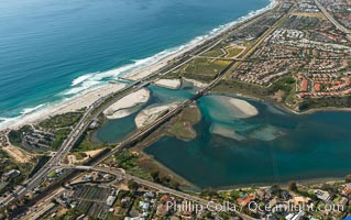 Aerial photo of Batiquitos Lagoon, Carlsbad. The Batiquitos Lagoon is a coastal wetland in southern Carlsbad, California. Part of the lagoon is designated as the Batiquitos Lagoon State Marine Conservation Area, run by the California Department of Fish and Game as a nature reserve. Carlsbad, Callifornia, USA, natural history stock photograph, photo id 30572
