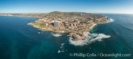 Aerial Panoramic Photo of Casa Cove, Children's Pool and La Jolla Coastline