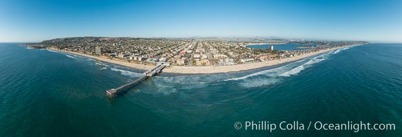 Aerial Panoramic Photo of Crystal Pier and Pacific Beach Coastline, San Diego, California