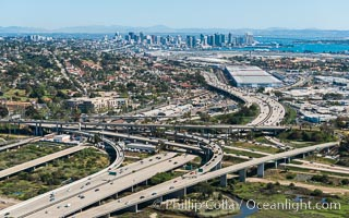 Aerial Photo of Downtown San Diego and Freeway Interchange. San Diego, California, USA, natural history stock photograph, photo id 30685