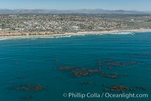 Aerial Photo of Swamis Marine Conservation Area.  Swami�s State Marine Conservation Area (SMCA) is a marine protected area that extends offshore of Encinitas in San Diego County. Encinitas, California, USA, natural history stock photograph, photo id 30579