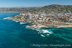 Aerial Photo of La Jolla coastline, showing underwater reefs and Mount Soledad. La Jolla, California, USA, natural history stock photograph, photo id 30678
