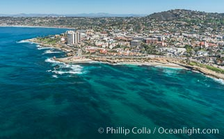 Aerial Photo of La Jolla coastline, showing underwater reefs and Mount Soledad. La Jolla, California, USA, natural history stock photograph, photo id 30679