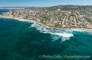 Aerial Photo of La Jolla coastline, showing underwater reefs and Mount Soledad