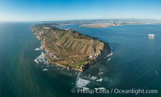 Aerial Panoramic Photo of Point Loma and Cabrillo Monument, with San Diego Bay in the distance