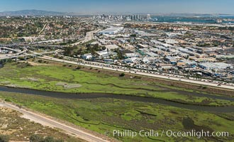 Aerial Photo of San Diego River. San Diego, California, USA, natural history stock photograph, photo id 30686