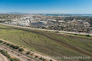 Aerial Photo of San Diego River. San Diego, California, USA, natural history stock photograph, photo id 30688