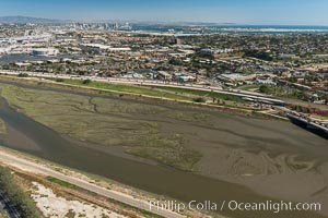 Aerial Photo of San Diego River. San Diego, California, USA, natural history stock photograph, photo id 30689