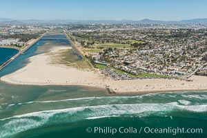 Aerial Photo of San Diego River and Dog Beach. San Diego, California, USA, natural history stock photograph, photo id 30694