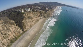 Aerial Photo of San Diego Scripps Coastal SMCA. Blacks Beach and Scripps Pier, La Jolla, California
