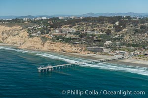 Aerial Photo of San Diego Scripps Coastal SMCA. Scripps Institution of Oceanography Research Pier. Scripps Institution of Oceanography, La Jolla, California, USA, natural history stock photograph, photo id 30630