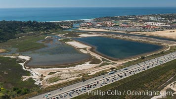 Aerial photo of San Dieguito Lagoon State Marine Conservation Area.  San Dieguito Lagoon State Marine Conservation Area (SMCA) is a marine protected area near Del Mar in San Diego County. Del Mar, California, USA, natural history stock photograph, photo id 30609