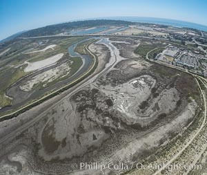 Aerial photo of San Dieguito Lagoon State Marine Conservation Area.  San Dieguito Lagoon State Marine Conservation Area (SMCA) is a marine protected area near Del Mar in San Diego County. Del Mar, California, USA, natural history stock photograph, photo id 30612